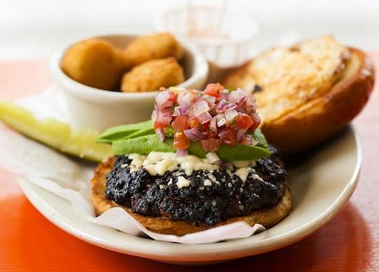 "The ""San Miguel"" burger at Flying Saucer   Jennifer Silverberg"