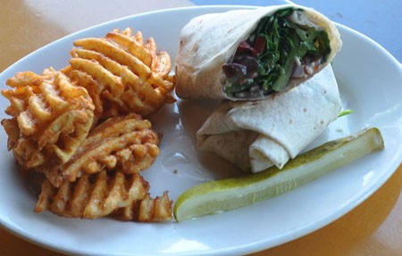Veggie wrap at the Wood. | Tara Mahadevan
