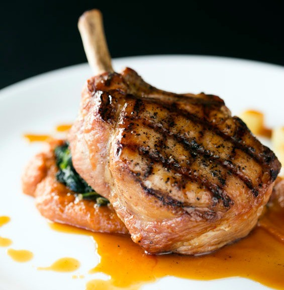 The smoked pork chop with cider sauce and sweet-potato puree. | Jennifer Silverberg