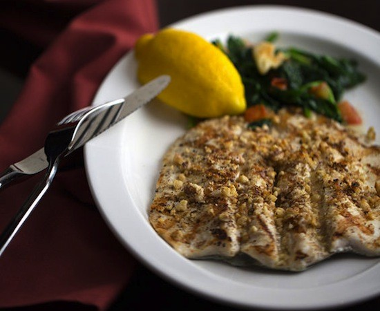 "The walnut-""encrusted"" trout at Pan D'Olive - JENNIFER SILVERBERG"