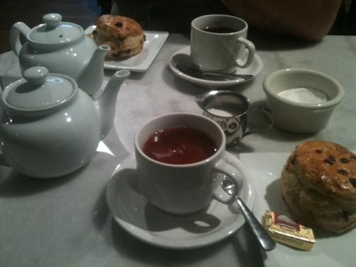 Tea and scones for a lunchtime mental health break. - ROBIN WHEELER