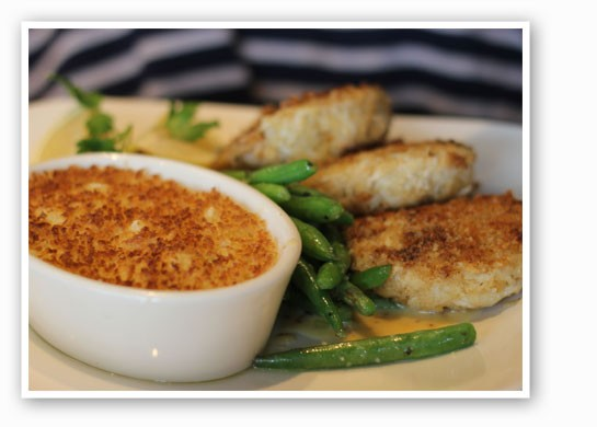 Crab cakes with green beans and potatoes. | Nancy Stiles