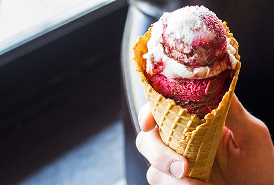 """London Fog"" gelato in a cone with blueberry sorbetto and soy chocolate. - PHOTOS BY MABEL SUEN"