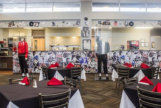 The restaurant's Michael Jackson-themed decor.