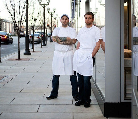 Gerard Craft (left) and Adam Altnether at their Clayton restaurant Pastaria - JENNIFER SILVERBERG