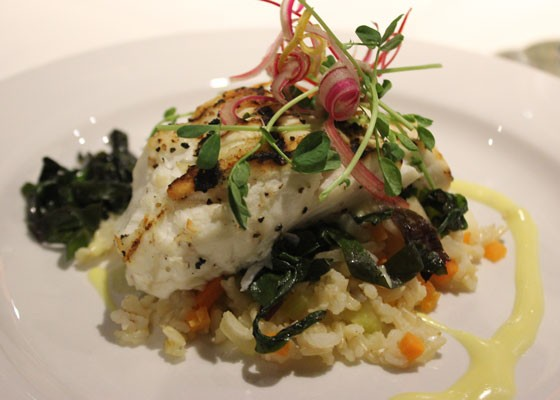 Grilled halibut with local brown basmati rice and saffron beurre blanc. | Nancy Stiles