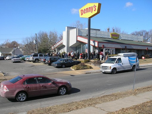 The scene at the Denny's on Hampton Avenue shortly after noon. - IAN FROEB