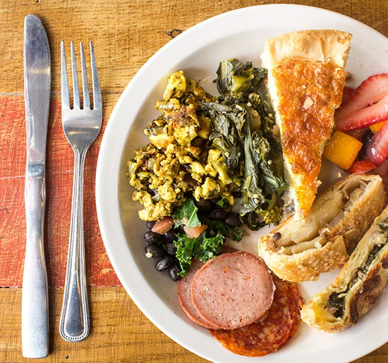 Tofu scramble, sesame-ginger greens, quiche, stollen, sausage and more. | Photos by Mabel Suen