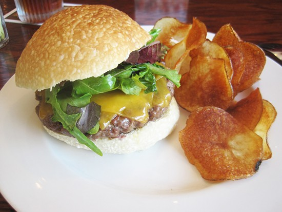 The famed Five Bistro burger (at its original home, Newstead Tower Public House) - IAN FROEB