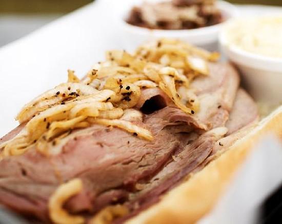 The smoked prime rib sandwich at Bogart's Smokehouse - JENNIFER SILVERBERG