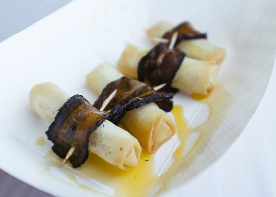 Bacon-wrapped spring rolls at Naked Bacon. | Bryan Sutter