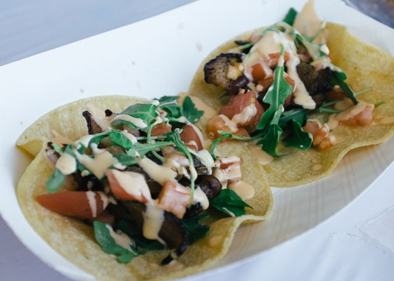 A gourmet BLT taco at Naked Bacon. | Bryan Sutter
