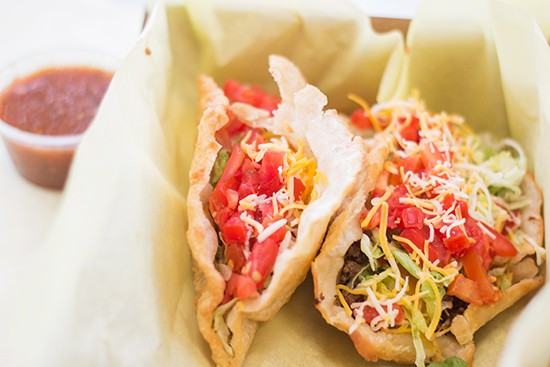 "Fort Taco's ""traditional soft tacos."" 