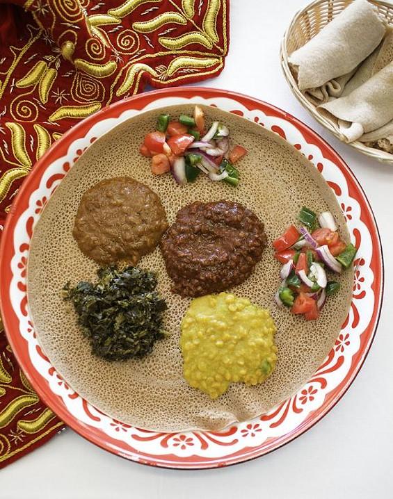 The vegetarian combo platter at Blue Nile Market and Cafe - JENNIFER SILVERBERG