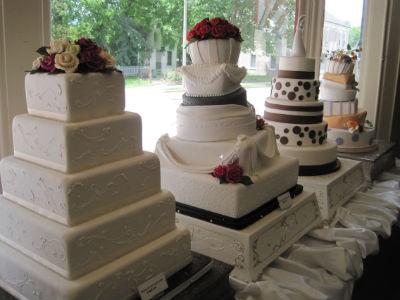 Wedding cake window dressing at 10th Street Baking Co. - ROBIN WHEELER