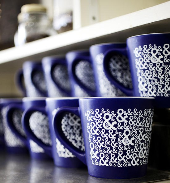 Coffee mugs at Half & Half in Clayton - JENNIFER SILVERBERG