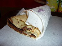 """Crêpe in appropriate conical form. - USER """"FREEDOM_WIZARD,"""" WIKIMEDIA COMMONS"""