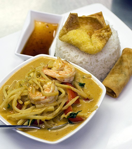 The green curry lunch special with coconut milk, bamboo shoots, green beans, eggplant, basil leaves, green & red peppers and choice of meat, this time, shrimp. See a photo slideshow here. - PHOTO: JENNIFER SILVERBERG