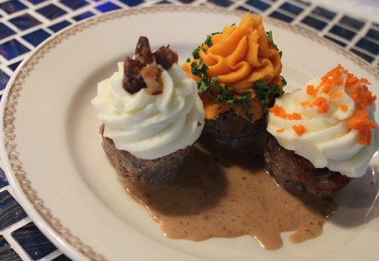 "Meatloaf cupcakes served with gravy and three different kinds of potato ""frosting."" - MABEL SUEN"