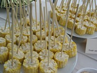 """Lolli-cobs"" with chili-honey butter, served at a supper club last year. - ROAMING REVELRY"