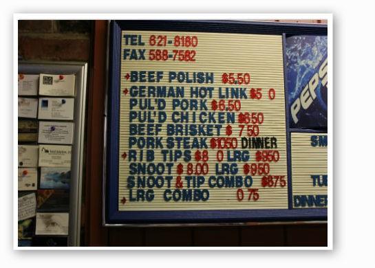 "Smoki O's menu -- note the ""snoot."" | Zach Garrison"
