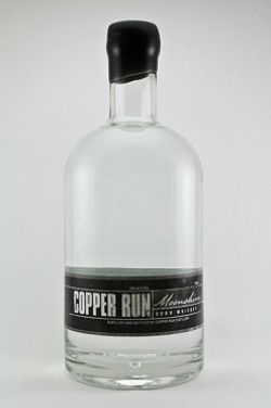 Copper Run Distillery un-aged corn whiskey moonshine. - IMAGE VIA