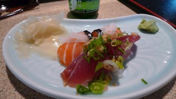 Pieces of sake (salmon) and bonito (a type of mackerel) nigiri from Nobu's - PHOTO BY KEEGAN HAMILTON