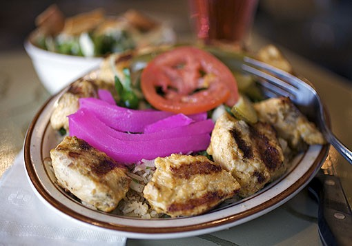 The chicken kabob entreé is seasoned, grilled chicken breast and is served with rice, and of course, pickled turnips and tomato. See the full slideshow here. - PHOTO: JENNIFER SILVERBERG