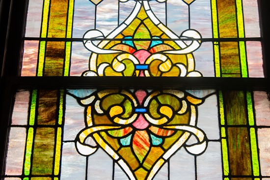 Detail of the stained glass in the dining room.