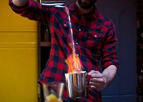 "Bartender Joe Duepner making ""The Pentecostal."" | Jennifer Silverberg"