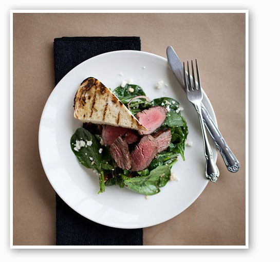 Steak and spinach salad with feta at Mathew's Kitchen. | Jennifer Silverberg