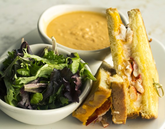 Bonefish Grill's lobster grilled cheese with cheddar, smoked mozzarella, North Atlantic lobster chunks, fresh greens and lobster bisque. | Mabel Suen