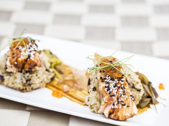 Onigiri: Tea smoked salmon, teriyaki sauce, fried rice ball, spring onion. | Jennifer Silverberg