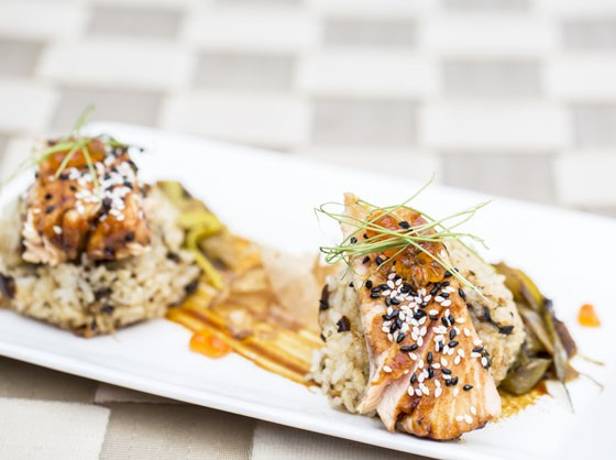 Onigiri: Tea smoked salmon, teriyaki sauce, fried rice ball, spring onion.   Jennifer Silverberg