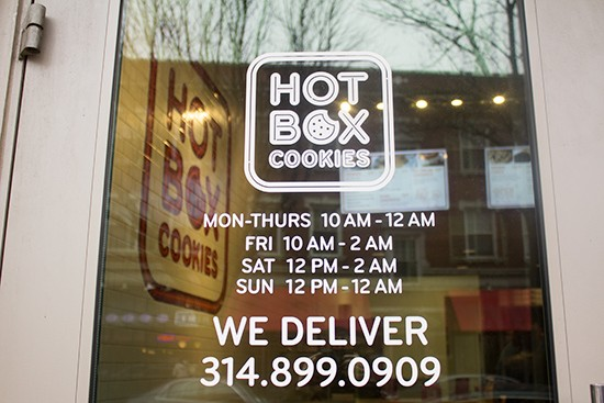 The entrance to Hot Box Cookies.