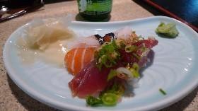 Pieces of sake (salmon) and bonito (a type of mackerel) nigiri from Nobu's. - KEEGAN HAMILTON