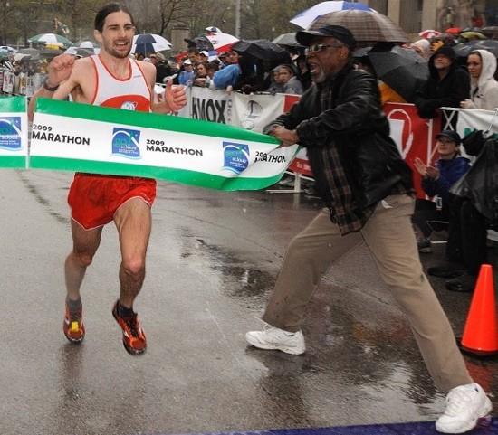 2009 Go! St. Louis Marathon winner Zac Freundenburg breaks the tape at 2:23:57 - VIA GO ST. LOUIS FACEBOOK FAN PAGE