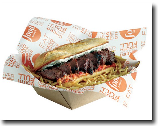 Do not adjust your television set. This is a Food Network steak sandwich -- the Red, White and Blue Steak Sandwich, to be precise. - FOOD NETWORK