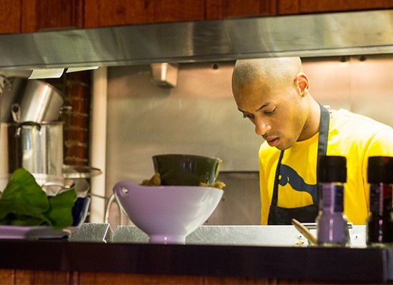 Executive chef Tyler Davis in the kitchen.