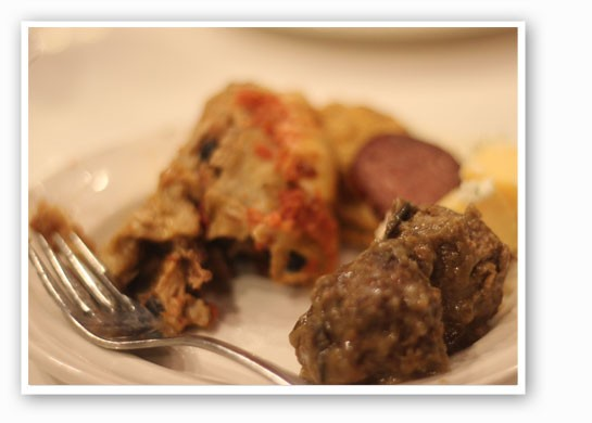 Bacon and beef tongue meatballs, pheasant and black bean enchiladas. | Nancy Stiles