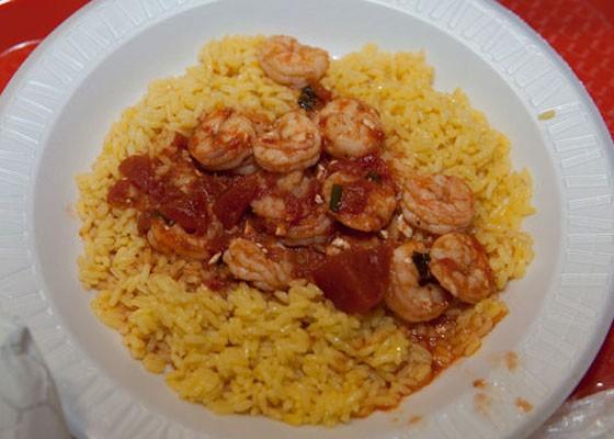 Shrimp saganki with rice. | Jon Gitchoff