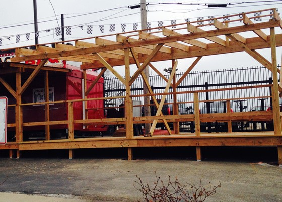 Patio construction at Lampert's Q-Shack. | Angie Lampert