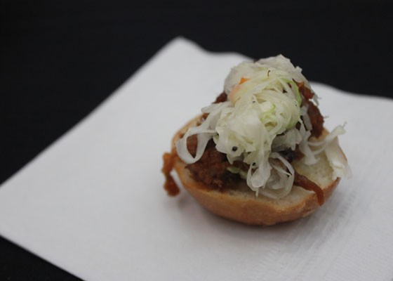 Mini pulled pork sliders with cole slaw were served before the museum tour. | Nancy Stiles