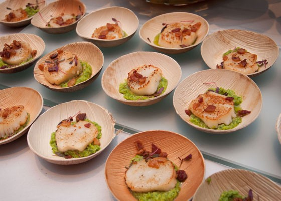 Seared sea scallops with minted pea pesto from Central Table Food Hall. | Micah Usher