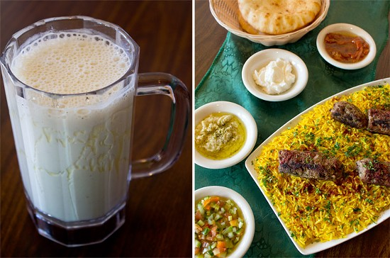 A fresh banana smoothie; Beef and lamb kufta with Palestinian salad, baba ghanoush, pita bread and more. - MABEL SUEN