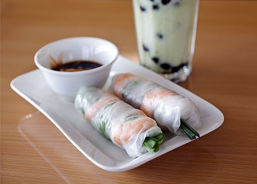 Gỏi cuốn, the spring roll appetizer, is shown here with a fresh avocado smoothie with boba added. Boba are the tapioca balls also commonly found in bubble tea. See the full slideshow here. - PHOTO: JENNIFER SILVERBERG