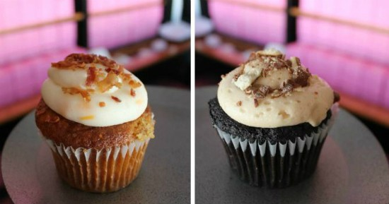 "The ""Drunken Pig,"" cupcake (left) and the ""Beer and Pretzel"" cupcake. - LIZ MILLER"
