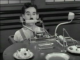 Chaplin versus the Bellows Feeding Machine. - IMAGE SOURCE