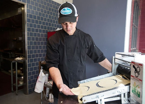 Jason Tilford making fresh tortillas at Mission Taco Joint. | Jennifer Silverberg