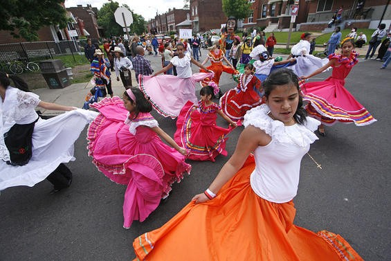 A photo from last year's Cherokee Street Cinco de Mayo parade - NICK SCHNELLE
